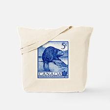 Vintage 1954 Canada Beaver Postage Stamp Tote Bag
