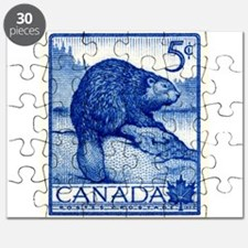 Vintage 1954 Canada Beaver Postage Stamp Puzzle