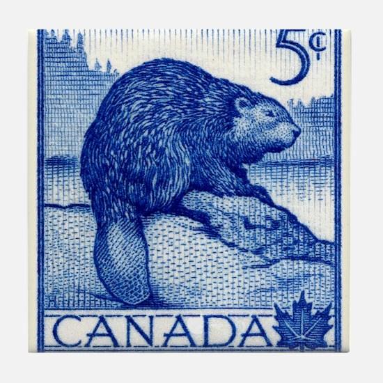 Vintage 1954 Canada Beaver Postage Stamp Tile Coas