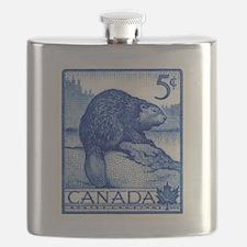 Vintage 1954 Canada Beaver Postage Stamp Flask