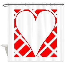Red Diagonal Bricks Background Heart Shower Curtai