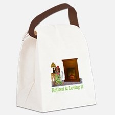 Retired Dog Lounging By The Fire Canvas Lunch Bag