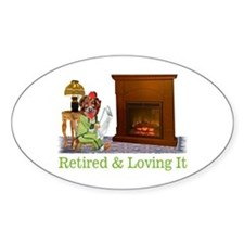 Retired Dog Lounging By The Fire Decal