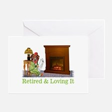 Retired Dog Lounging By The Fire Greeting Card