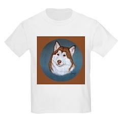 Alaskan Malamute Red & White Kids Light T-Shirt