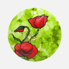 Red Poppies Green Background Round Ornament