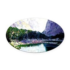 Twin Lakes, High Sierras - paintin Oval Car Magnet