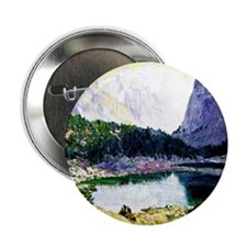 """Twin Lakes, High Sierras - painting b 2.25"""" Button"""