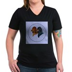 Dachshund Duo Women's V-Neck Dark T-Shirt