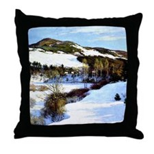 Cornish Hills, landscape painting by  Throw Pillow
