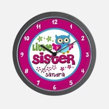 Owl Little Sister - Personalized Wall Clock