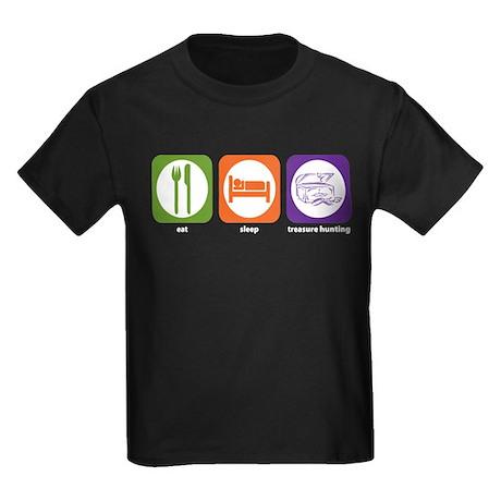 Eat Sleep Treasure Hunting Kids Dark T-Shirt