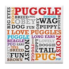 Puggle Words Tile Coaster