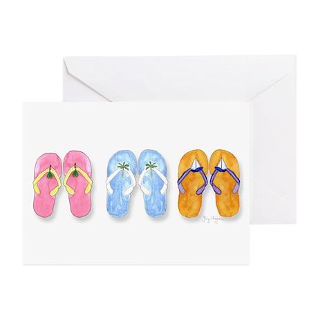 3 Pairs of Flip-Flops Greeting Cards(Pk of 10)