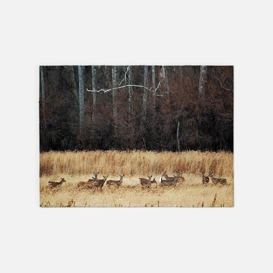 Winter Deer Herd 5'x7'Area Rug