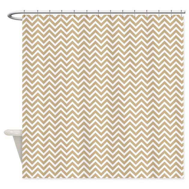 Tan Sand Color Chevron Pattern Shower Curtain By