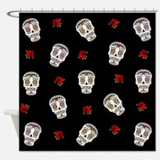Sugar Skulls and Roses Shower Curtain