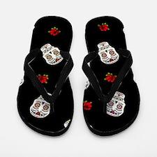 Sugar Skulls and Roses Flip Flops