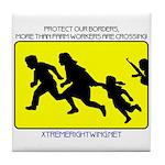 Border Crossing Sign Tile Coaster