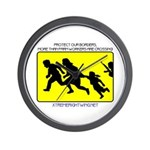 Border Crossing Sign Wall Clock