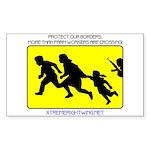 Border Crossing Sign Sticker (Rect.)