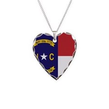 North Carolina Flag, NC State Flag Necklace Heart