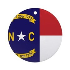 North Carolina Flag, NC State Flag Ornament (Round