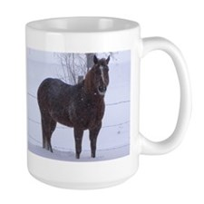 Lady in Snow Mugs