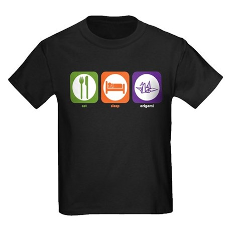 Eat Sleep Origami Kids Dark T-Shirt