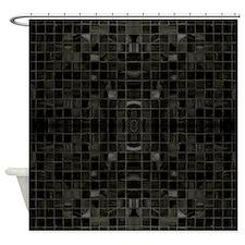 Black Mosaic Tile Shower Curtain