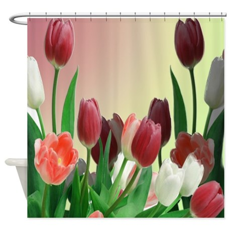 Red And White Tulips Shower Curtain By ZazzlingHomeDecor