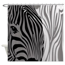 Fantasy Zebra - Gray Shower Curtain