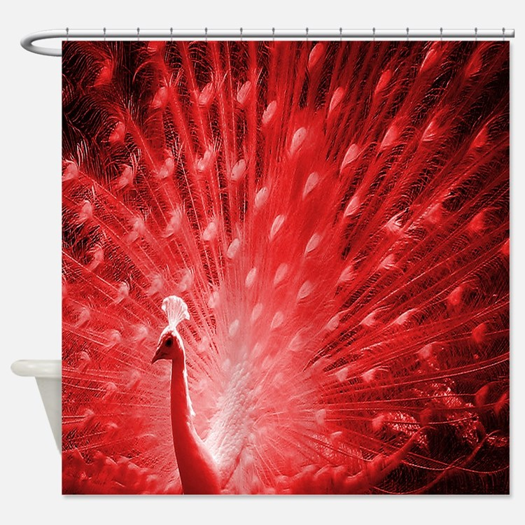 Red Peacock Shower Curtains Red Peacock Fabric Shower