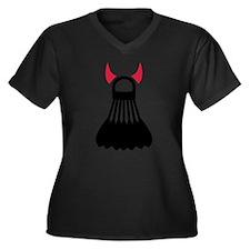 Badminton devil Women's Plus Size V-Neck Dark T-Sh
