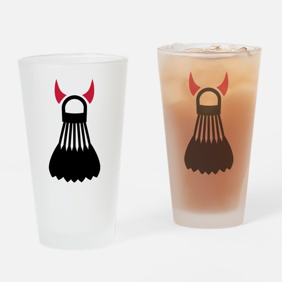 Badminton devil Drinking Glass