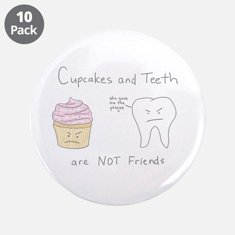 "Cupcakes vs. Teeth 3.5"" Button (10 pack)"
