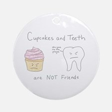 Cupcakes vs. Teeth Ornament (Round)