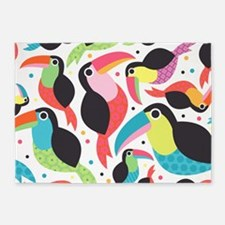 Colorful Toucans 5'X7'area Rug