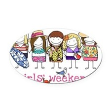 Girls Weekend Pink Oval Car Magnet