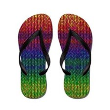 Rainbow Knit Photo Flip Flops