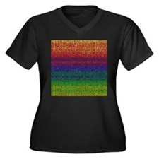 Rainbow Knit Photo Women's Plus Size V-Neck Dark T