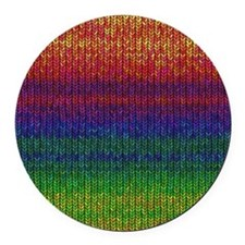 Rainbow Knit Photo Round Car Magnet