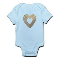 3-D Gold and Silver Heart Onesie