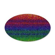 Rainbow Knit Photo 35x21 Oval Wall Decal