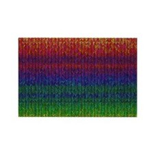 Rainbow Knit Photo Rectangle Magnet