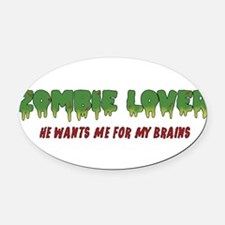 Zombie Lover - Oval Car Magnet