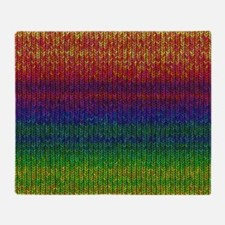 Rainbow Knit Photo Throw Blanket