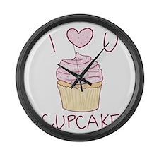 I Heart You Cupcake Large Wall Clock
