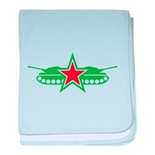 Green Military tanks with stars baby blanket