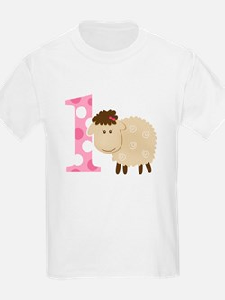 First Birthday Pink Girl Sheep T-Shirt
